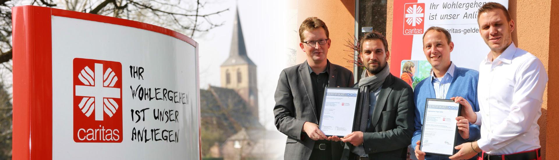 Zertifikatsübergabe nach erfolgreich durchgeführter AZAV Zulassung bei der caritas-betriebe gemeinnützige GmbH in Geldern