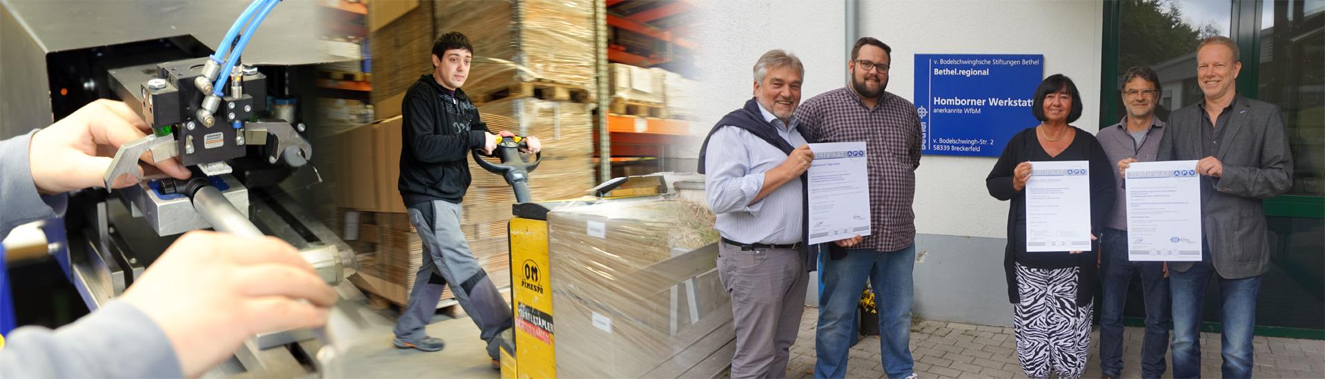 Metallbearbeitung, Verpackung und Versand, Zertifikatsübergabe ISO und AZAV Zertifizierung an die Homborner Werkstatt Bethel.