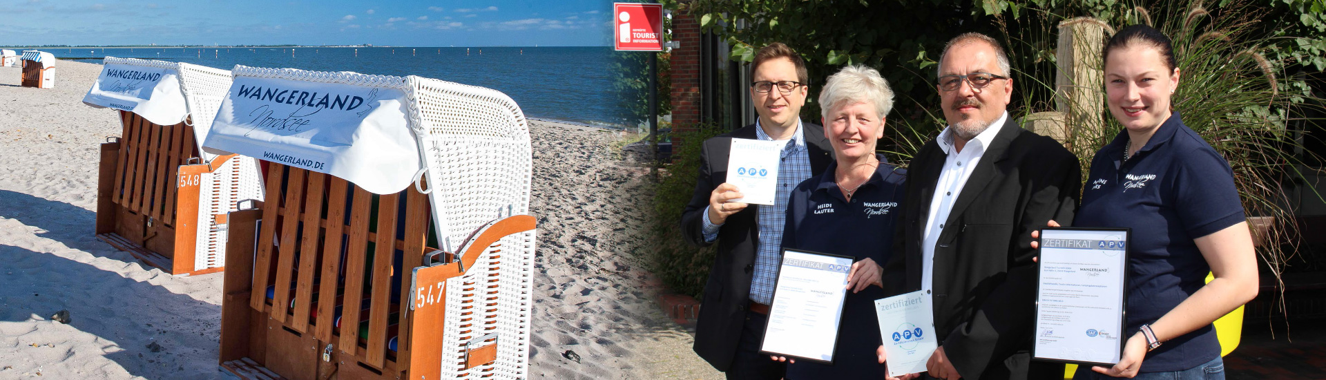 Zertifikatsübergabe nach erfolgreich durchgeführter DIN EN ISO 9001:2015 Zertifizierung bei der Wangerland Touristik GmbH